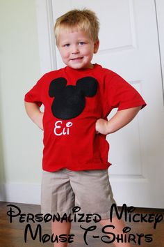 Disney Crafts: Personalized Mickey T-shirts Love this idea! Very simple, felt head. We'll prob skip the names so shirts can be passed down. We had matching outfits growing up (for Astroworld, not Disney). Helps find the kids!