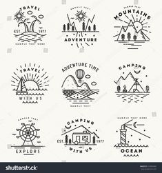 Set of 9 flat line art travel logotypes , dibujos Set 9 Flat Line Art Travel Stock Vector (Royalty Free) 419093482 Doodle Drawings, Cute Drawings, Stylo Art, Travel Doodles, Sketch Note, Travel Drawing, Camping Drawing, Travel Logo, Pen Art