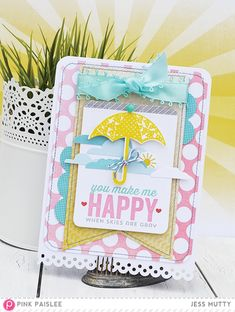 Umbrella Card by Jess Mutty for Pink Paislee