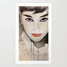 Audrey Hepburn watercolor Art Print by Joedunnz - $15.48