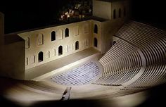 """James Casebere, """"Theater (after the Acropolis) #2"""", 2006 digital chromogenic print in three panels  overall dimensions: 119 x 184 1/2 inches. Casebere builds detailed miniature sets which he photographs with controlled lighting."""