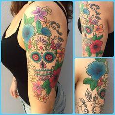 Beautiful Girly Sugar Skull Tattoo for Sleeves