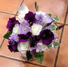 white roses with dark purple