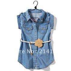 Barato 8pcs atacado / monte bebê menina vestido jeans roupas, jeans menina vestido vestuário, por 2 14 anos JL009, Compro Qualidade Blusas - Meninas diretamente de fornecedores da China:          MOQ: 8pcs / lot           Tamanho :  2-3 3-4 4-5 5-6 7-8            9-10 11-12 13-14           &nbs