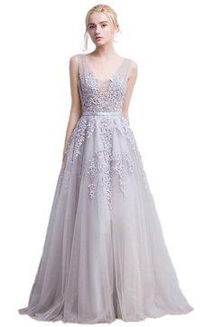 EnjoyBridal® A-Linie Lang Spitze Tüll Rückenfrei Abendkleid Ballkleid Hochzeit Brautjungfernkleid mit Träger Grau 32
