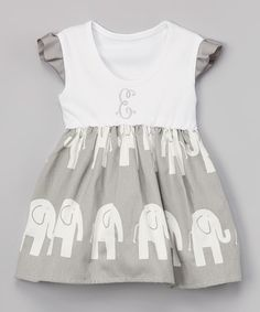 Look what I found on #zulily! Gray Elephant Personalized Angel Sleeve Dress - Infant #zulilyfinds