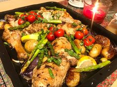 Greek lemon, oregano and thyme chicken tray bake with asparagus, tomatoes, potatoes and red onion Chicken Asparagus Bake, Cheese And Cracker Platter, Greek Chicken And Potatoes, Greek Style Chicken, Potato Juice, Fatty Fish, How To Dry Oregano, Greek Recipes, Fresh Herbs