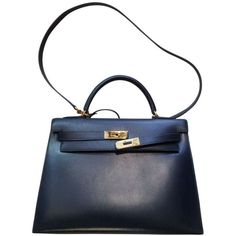 Blue Leather Handbag Kelly HERMÈS (112,475 MXN) ❤ liked on Polyvore featuring bags, handbags, man bag, genuine leather handbags, blue purse, leather man bags and genuine leather purse