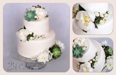 Beautiful wedding cake with succulents, peonies, and wild flowers, by 2bi Cakes.