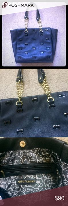 NWOT Betsey Johnson Black Leather Shoulder Bag New without tags large Betsey Johnson all black leather bag with small adorable little bow studs on one side and inner pocket with snap closure and gold chain detailing on both straps. Beautiful condition inside and out no flaws! Betsey Johnson Bags Shoulder Bags