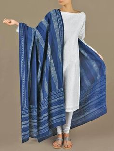 Beautiful dupatta(stole) dyed in organic indigo dye..using.traditional Indian methods