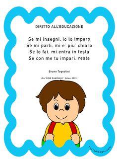 diritto-educazione-tognolini School Tomorrow, Reading Material, Art Therapy, Kids Education, Montessori, Fairy Tales, Crafts For Kids, Preschool, Baby Boy
