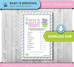 Tea Baby Shower Game Price is Right Baby is by thepartystork, $6.99