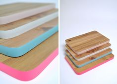 Add a touch of softness and color to your cutting boards - paint the edges in pastels.