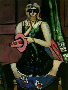 "the-arbiters-will: Max Beckmann ""Columbine (Carnival Mask, Green, Violet and Pink)"" 1950 Oil on canvas, 135.5 x 100.5 cm The St. Louis Art ..."