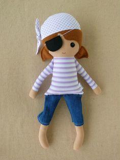 Fabric Doll Rag Doll Purple Pirate Girl
