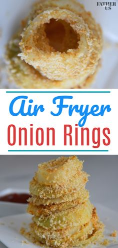 This Easy Homemade Air Fryer Onion Rings recipe is the perfect side dish, appetizer or game day snack. Made with just a little oil, it is much more healthy than it's deep fried relatives. I used panko bread crumbs for some extra crispiness! Healthy Superbowl Snacks, Game Day Snacks, Tailgating Recipes, Game Day Food, Keto Banana Bread, Keto Bread, Panko Bread, Air Fryer Dinner Recipes, Air Fryer Recipes Easy