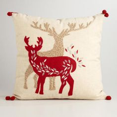 Refresh your winter décor with our Reindeer Throw Pillow.  #WorldMarket