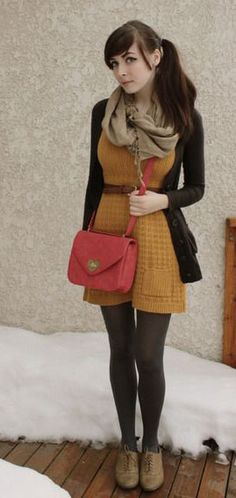 mustard brown sweater dress, red purse, black tights