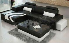 2013 V1015D black leather american corner sofa
