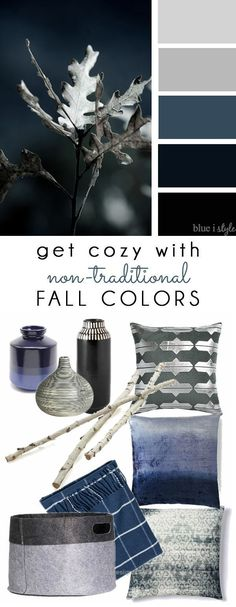 Check out this COZY FALL COLORS! A simple mood board to help you bring these non-traditional fall colors of navy and gray into your home decor.  The post  COZY FALL COLORS! A simpl ..