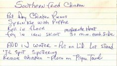 Handwritten Recipe Card For Southern Fried Chicken (date unknown)