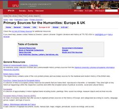 EHPS quoted at Simon Fraser University Library, category: Primary Sources for the Humanities: Europe & UK