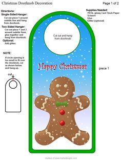 Door Knobs, Gingerbread, Card Stock, Hanger, School, Cards, Christmas, Diy, Decor
