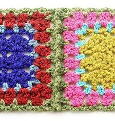 Simulated braid join - Crochet Joining Granny Squares - Tutorial  (pic is back side)