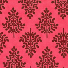 Its a Hoot Trees Chocolate on Pink Twill Remnant