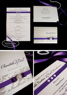 Beautiful purple wedding invitations with handmade shimmery paper, ribbon, diamante/pearl embellishment and pearl gems. www,weddingart.co.nz