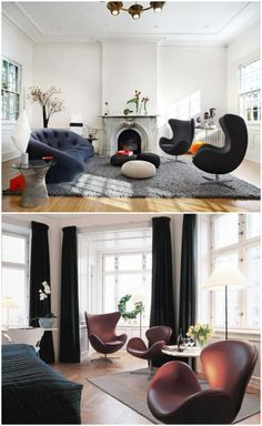 Brown leather egg chair in small living room #eggchair #accentchairs #livingroomsets