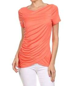 Coral Ruched Wrap Top