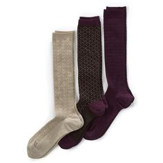 Lands' End Women's Seamless Trouser Socks (3-pack) (25 CAD) ❤ liked on Polyvore featuring intimates, hosiery, socks, neutral, trouser socks, seamless hosiery, no seam socks, lands end socks and lands' end