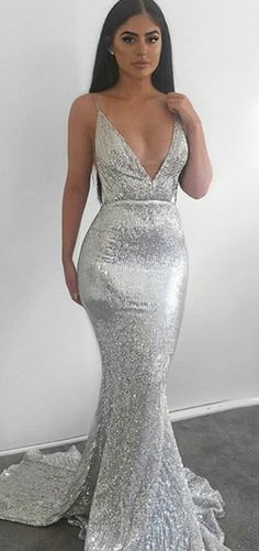fe51a86e6b5 Mermaid Deep V-Neck Spaghetti Straps Backless Silver Sequined Long Prom  Dresses