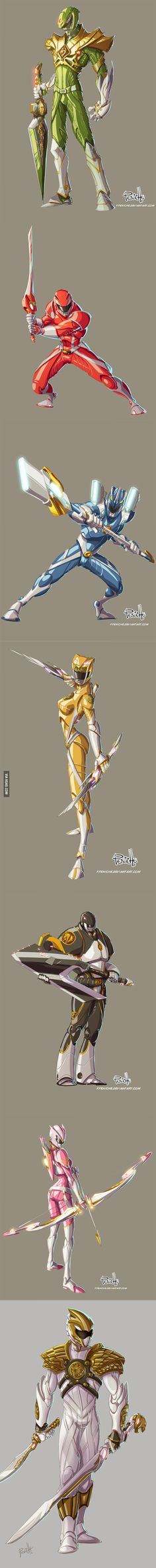 Power Rangers Anime Version From The 1st Gen. Redesigned by Mexican artist Fernando Peniche