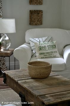 "our vintage home love"". Good tutorial to paint grain sack look."