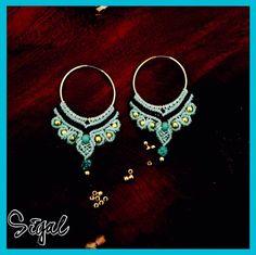 Micro macrame big hoops earrings metal beads and torques