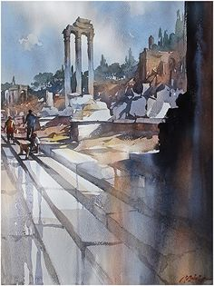 along the via sacra - rome by Thomas W. Schaller Watercolor ~ 24 inches x 18 inches