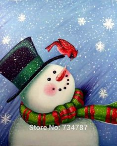 Christmas Oil Paintings | Chinese Oil Paintings on Canvas Lovely Christmas Snowman Picture ...