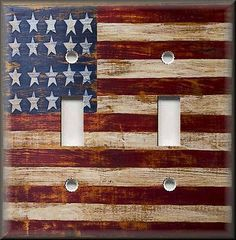 Light Switch Plate Cover - Rustic Primitive American Flag - USA - Home Decor