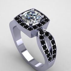 14K White Gold Black Diamond Ring with Moissanite Center Stone Jewelry