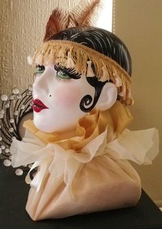 Original Handpainted pin up shabby chic art deco  inspired Mannequin doll display fashion head.
