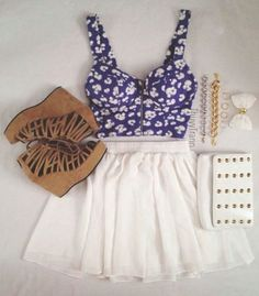White skirt with blue floral crop top and brown heels cute for summer or spring