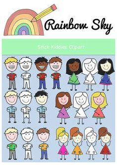 Rainbow Sky, Cute Clipart, Types Of Girls, Painting Patterns, Worksheets, Art Projects, Commercial, Clip Art, Activities