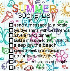 Summer bucketlist ideas