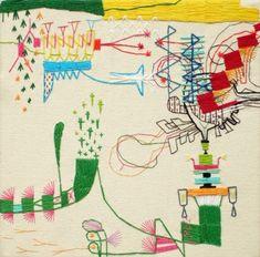 textile art by takashi iwasaki Contemporary Embroidery, Modern Embroidery, Embroidery Thread, Art Fil, Thread Art, Japanese Embroidery, Textile Artists, Fabric Art, Fiber Art