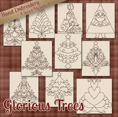 Hand Embroidery Patterns - Redwork Designs - Glorious Trees in 4 Sizes - PDF - Instant Download - Snow, Snowman, Winter, Christmas, Holiday