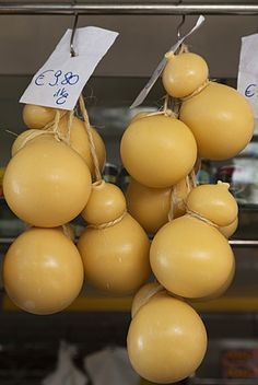 Caciocavallo cheese for sale in a market in Martina Franca, Puglia, Italy, Europe