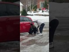Hilarious laugh as woman slipping on ice trying to get into car - YouTube
